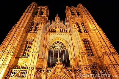 Cathedral in Brussels (Belgium) at night