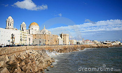 Cathedral of Cadiz along Atlantic Ocean, Spain Editorial Stock Image