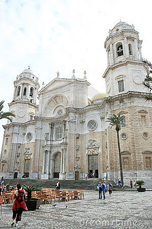 Cathedral of Cadiz and Cathedral Square, Spain Editorial Stock Image