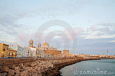 Cathedral in Cadiz at dusk, Spain