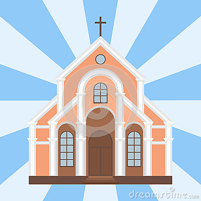 Cathedral catholic church temple traditional building landmark tourism vector illustration Vector Illustration