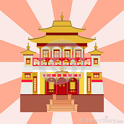 Cathedral chinese church temple traditional building landmark tourism vector illustration Vector Illustration