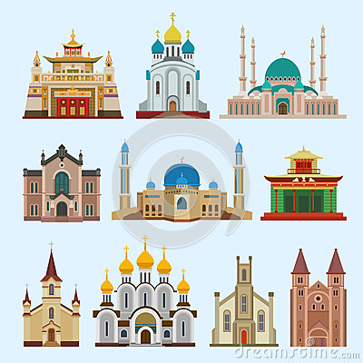 Cathedral church dfferent religion creed temple traditional building landmark tourism vector illustration Vector Illustration