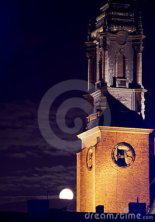 Cathedral Church in Poznan at night with moon