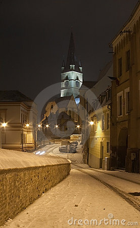 Cathedral church Sibiu Transylvania by night snow