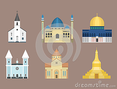 Cathedral church temple traditional building famous landmark tourism vector illustration Vector Illustration