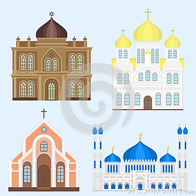 Cathedral church temple traditional building landmark tourism vector illustration Vector Illustration