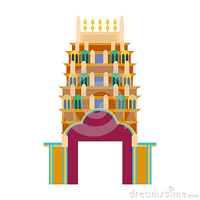 Cathedral churche tibetan temple building landmark tourism world religions and famous structure traditional city ancient Vector Illustration