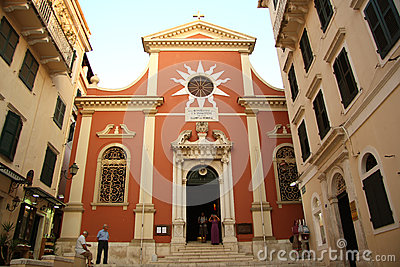 Cathedral in Corfu Town (Greece) Editorial Photography