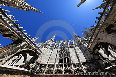 Cathedral of Duomo, gothic spires background