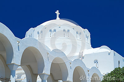 Cathedral of Fira town at Santorini island