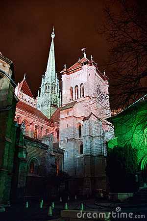Cathedral of Geneva at night