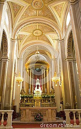 Cathedral Interior Altar Cross Morelia Mexico