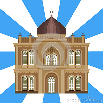 Cathedral jewish church temple traditional building landmark tourism vector illustration Vector Illustration