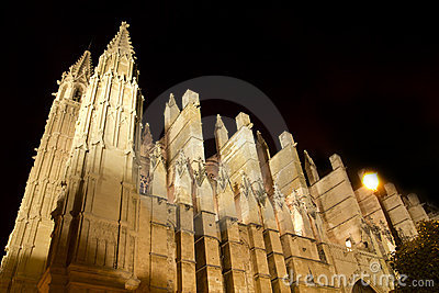 Cathedral of Majorca in Palma de Mallorca night