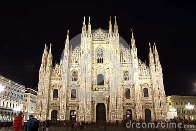 Cathedral in Milan, Italy at night Editorial Stock Photo