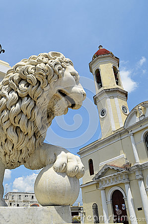 Free Cathedral Of Cienfuegos With Lion Head (Cuba) Royalty Free Stock Photos - 65624768