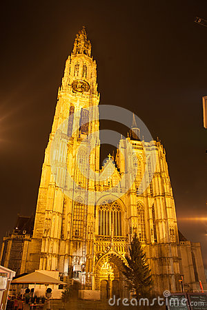 Cathedral in Antwerp - Belgium - at night Editorial Image