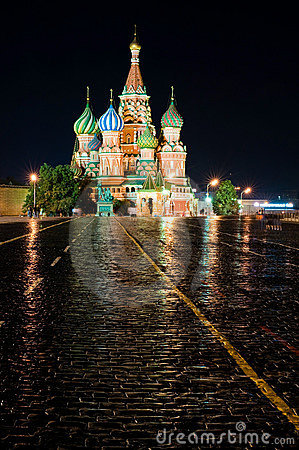 Free Cathedral Pokrovsky On Red Square In Moscow Nigh Stock Photo - 10724670