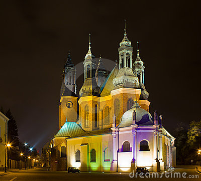 Cathedral  of Poznan at night, Poland