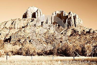 Cathedral Rock near Sedona, Arizona in Sepia