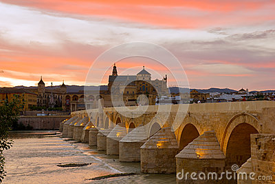 Cathedral and roman bridge, Cordoba, Spain
