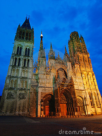 Cathedral of Rouen at evening