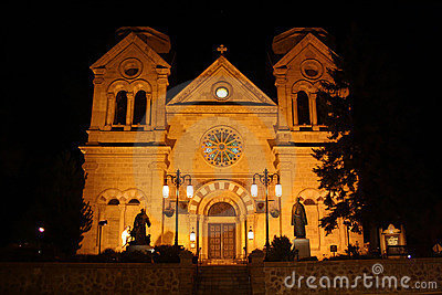 Cathedral in Santa Fe, New Mexico at night