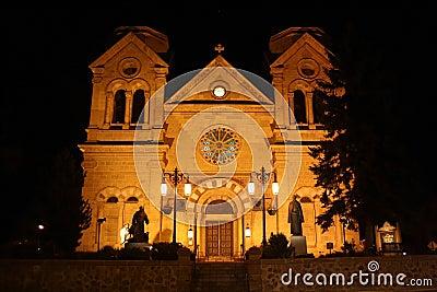 Cathedral in Santa Fe, New Mexico at night