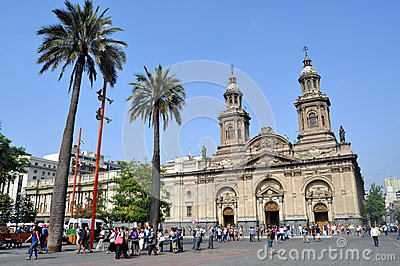 Cathedral of Santiago, Chile Editorial Photography