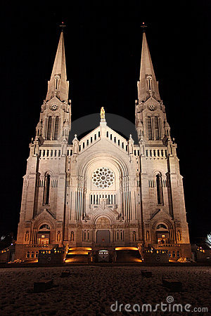 Cathedral with spires at night