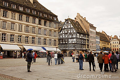 The cathedral square in Strasbourg Editorial Photography