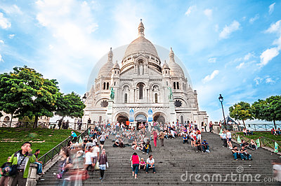 Cathedral with tourists in France, Paris, Europe. Editorial Photography