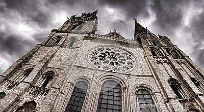 Cathedral Wide View and Dark Dramatic Sky in Storm