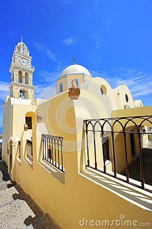 The catholic cathedral from Fira, Santorini, Greec