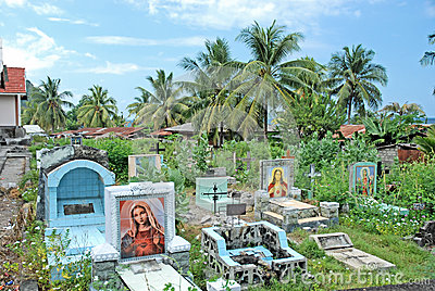Catholic cemetery with gravestones, Indonesia