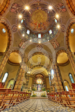 Catholic church interior view. Alba, Italy.