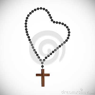 Free Catholic Prayerful Rosary With Black Pearls With A Wooden Cross Stock Photo - 90107100