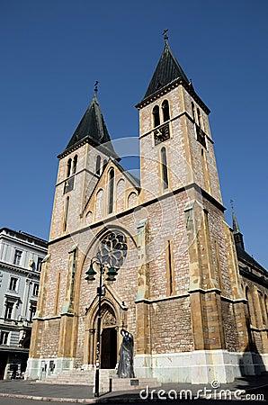 Free Catholic Sacred Heart Cathedral In Old Sarajevo Town Bosnia Hercegovina Stock Photography - 61730112