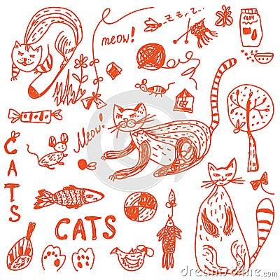 Cats doodle set funny