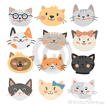 Cats heads vector illustration cute animal funny decorative characters feline domestic trendy pet drawn Vector Illustration