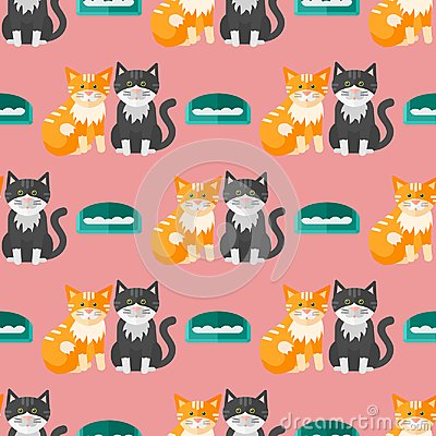 Cats heads vector illustration cute animal funny seamless pattern background characters feline domestic trendy pet Vector Illustration