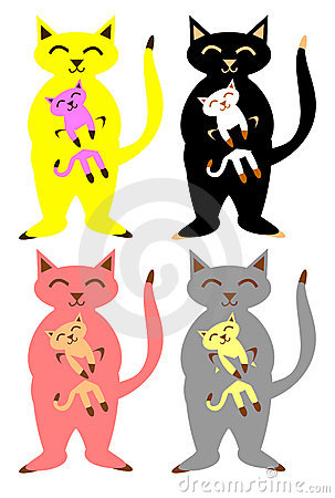 Cats and kittens set