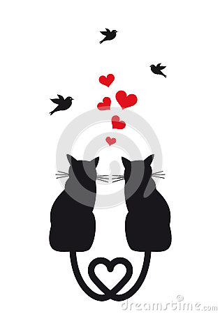 Cats in love with hearts and birds, vector