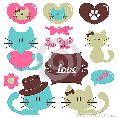 Cats in love romantic set