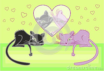 Cats in love. vector illustration