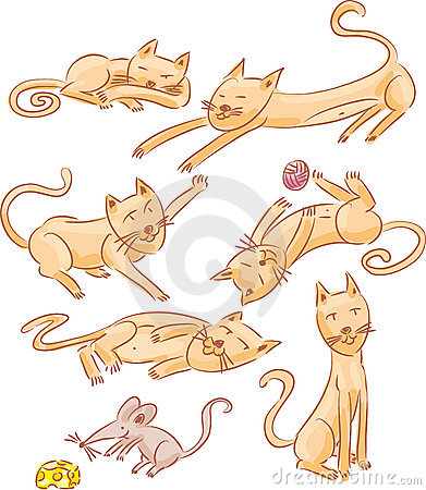 Cats and mouse illustration