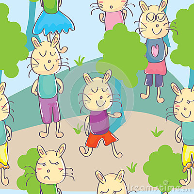 Cats Park Seamless Pattern_eps