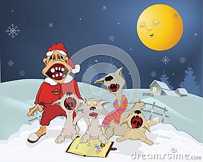 Cats and Santa Claus .Cartoon