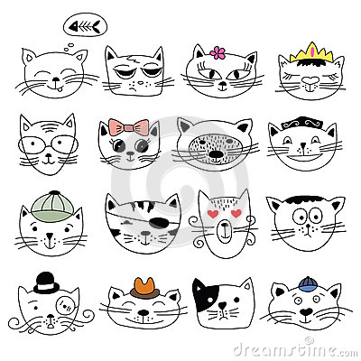 Cats, set of cute doodle. Vector Illustration